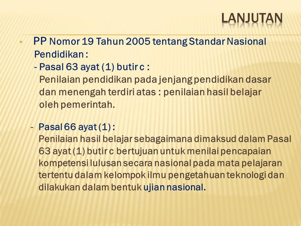 PP Nomor 19 Tahun 2005 tentang Standar Nasional Pendidikan : - Pasal 63 ayat (1) butir c : Penilaian pendidikan pada jenjang pendidikan dasar dan mene