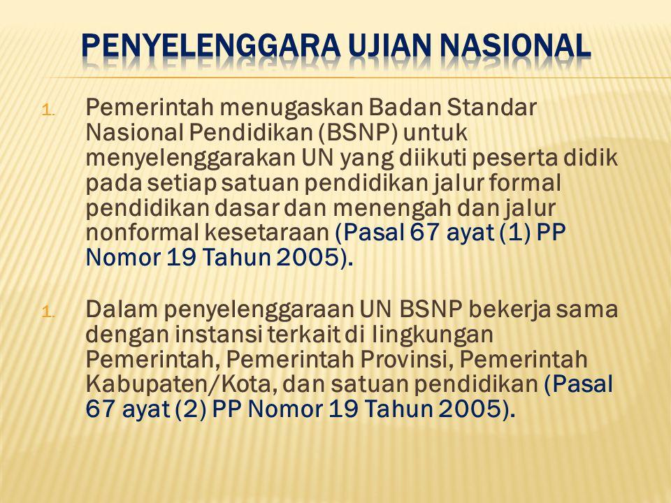 1. Pemerintah menugaskan Badan Standar Nasional Pendidikan (BSNP) untuk menyelenggarakan UN yang diikuti peserta didik pada setiap satuan pendidikan j