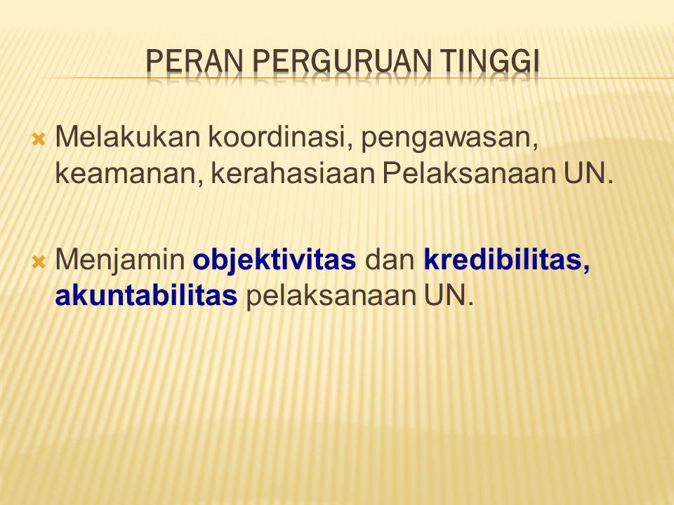  Melakukan koordinasi, pengawasan, keamanan, kerahasiaan Pelaksanaan UN.  Menjamin objektivitas dan kredibilitas, akuntabilitas pelaksanaan UN.