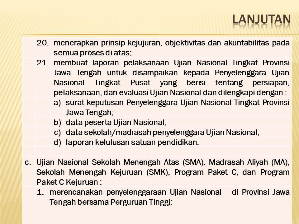 20.menerapkan prinsip kejujuran, objektivitas dan akuntabilitas pada semua proses di atas; 21.membuat laporan pelaksanaan Ujian Nasional Tingkat Provi