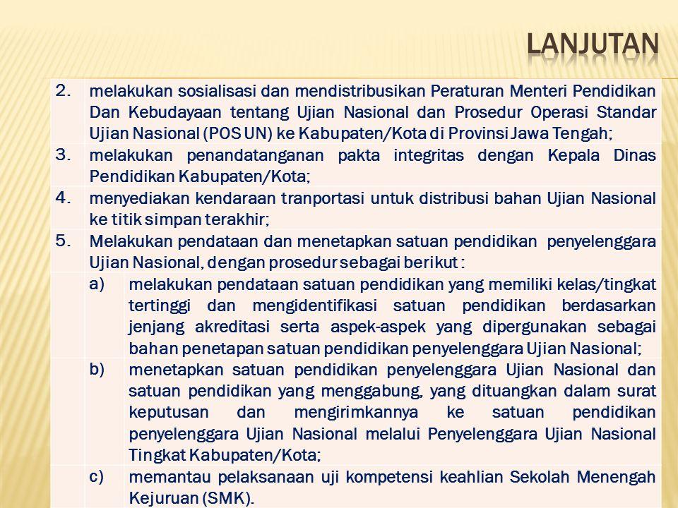2.2.melakukan sosialisasi dan mendistribusikan Peraturan Menteri Pendidikan Dan Kebudayaan tentang Ujian Nasional dan Prosedur Operasi Standar Ujian N