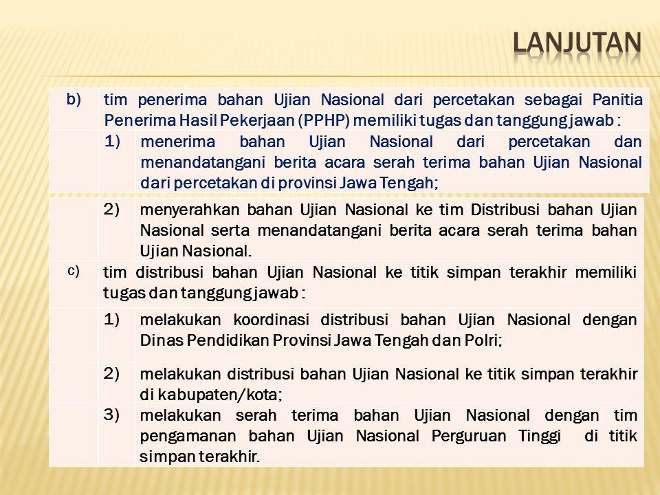 b)tim penerima bahan Ujian Nasional dari percetakan sebagai Panitia Penerima Hasil Pekerjaan (PPHP) memiliki tugas dan tanggung jawab : 1)menerima bah