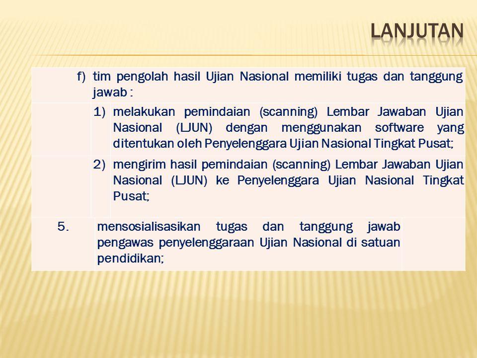 f)tim pengolah hasil Ujian Nasional memiliki tugas dan tanggung jawab : 1)melakukan pemindaian (scanning) Lembar Jawaban Ujian Nasional (LJUN) dengan