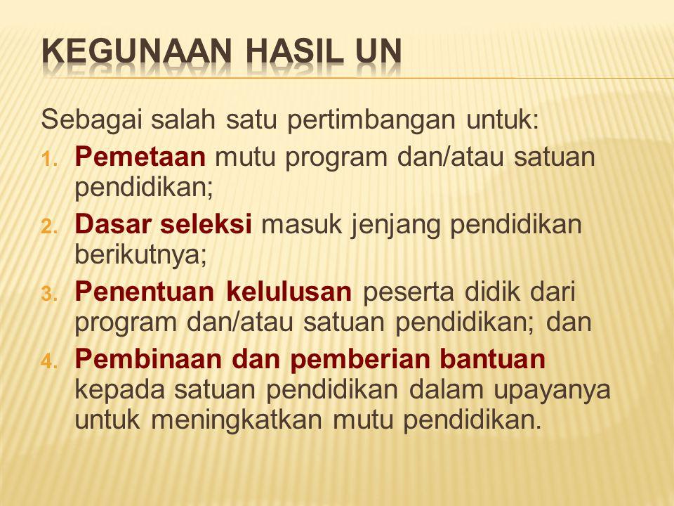  Nilai Akhir (NA) adalah gabungan antara Nilai Sekolah/Madrasah (Nilai S/M) dengan Nilai Ujian Nasional (Nilai UN)  Bobot nilai akhir (NA) NA = 0,60 UN + 0,40 NS  Dinyatakan Lulus UN SMP/MTs/SMPLB, SMA/MA/SMALB/SMK, Program Paket B, Program Paket C dan Program Paket C Kejuruan Rata-Rata NA minimum 5,5 dan tidak ada nilai di bawah 4,0 Halama n 19