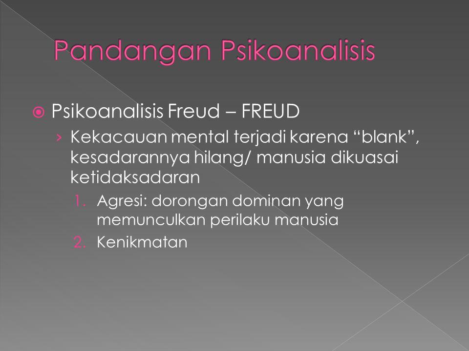 Psikoanalisis Freud – FREUD › Kekacauan mental terjadi karena blank , kesadarannya hilang/ manusia dikuasai ketidaksadaran 1.Agresi: dorongan dominan yang memunculkan perilaku manusia 2.Kenikmatan
