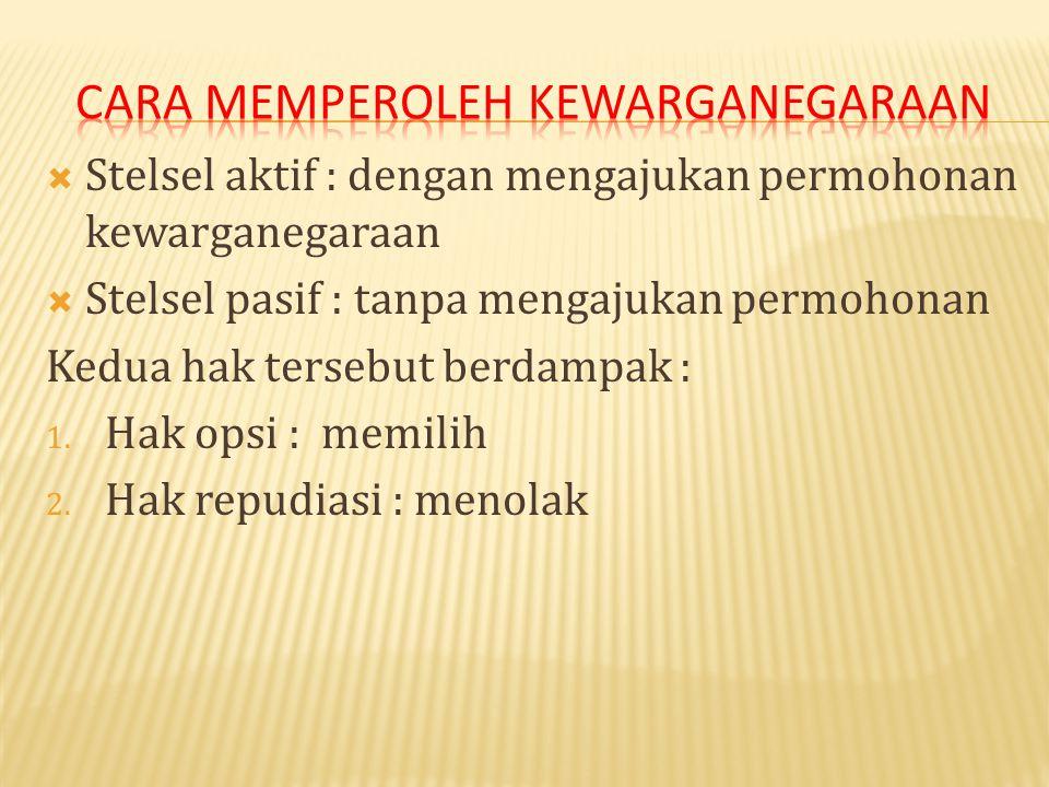  Asas ius sanguinis (keturunan) Cina/RRC  Asas ius soli (tempat kelahiran) Indonesia, Amerika, dll.  Dampak dari pewarganegaraan : 1. Bipatride : o