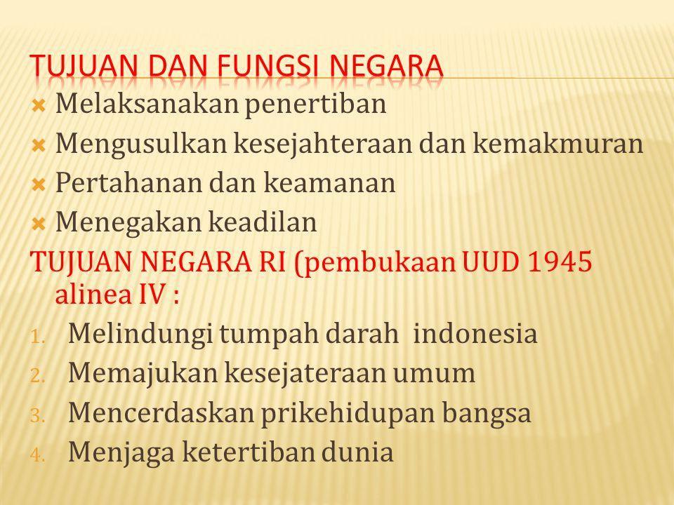  Melaksanakan penertiban  Mengusulkan kesejahteraan dan kemakmuran  Pertahanan dan keamanan  Menegakan keadilan TUJUAN NEGARA RI (pembukaan UUD 1945 alinea IV : 1.