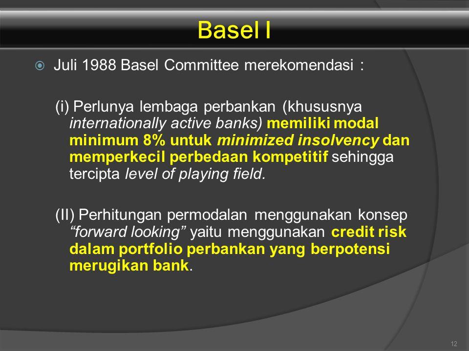  Juli 1988 Basel Committee merekomendasi : (i) Perlunya lembaga perbankan (khususnya internationally active banks) memiliki modal minimum 8% untuk mi