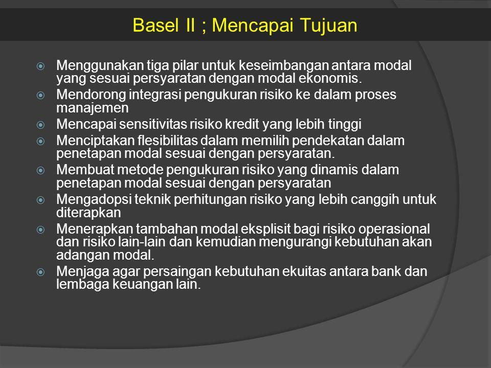  Menggunakan tiga pilar untuk keseimbangan antara modal yang sesuai persyaratan dengan modal ekonomis.  Mendorong integrasi pengukuran risiko ke dal