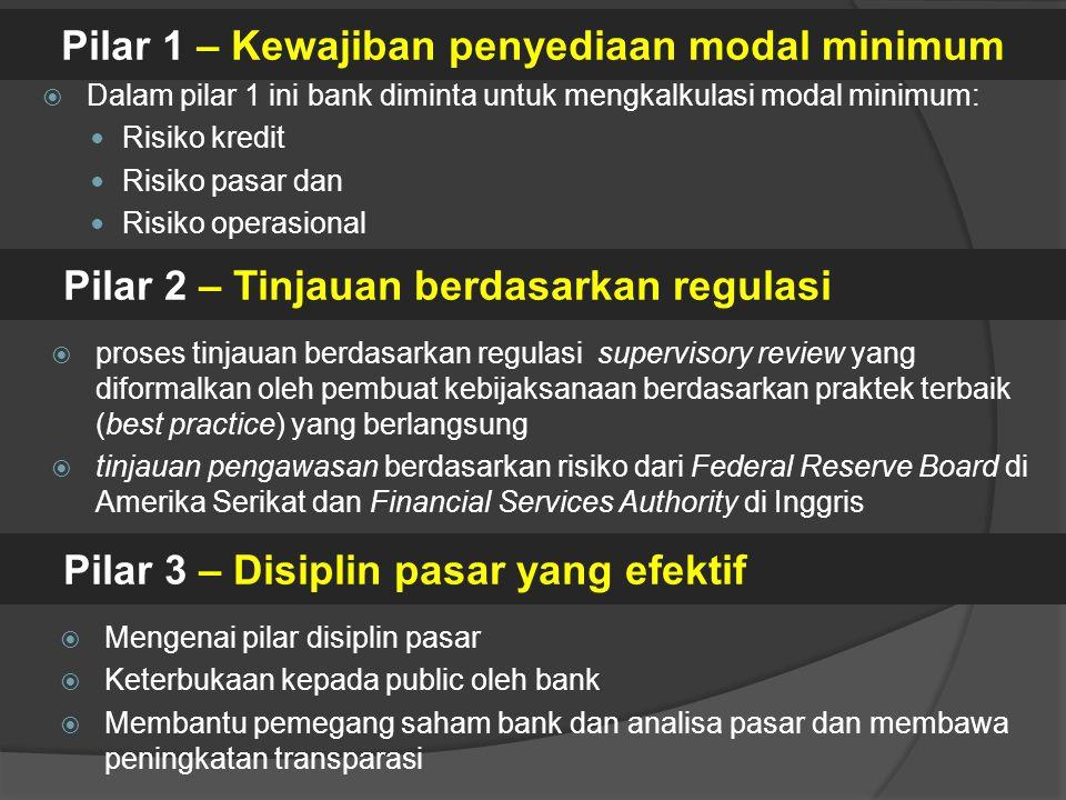  Dalam pilar 1 ini bank diminta untuk mengkalkulasi modal minimum: Risiko kredit Risiko pasar dan Risiko operasional Pilar 1 – Kewajiban penyediaan m