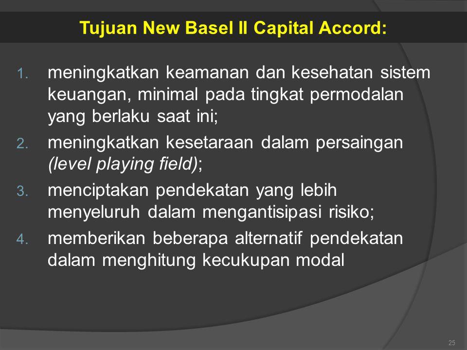 1. meningkatkan keamanan dan kesehatan sistem keuangan, minimal pada tingkat permodalan yang berlaku saat ini; 2. meningkatkan kesetaraan dalam persai