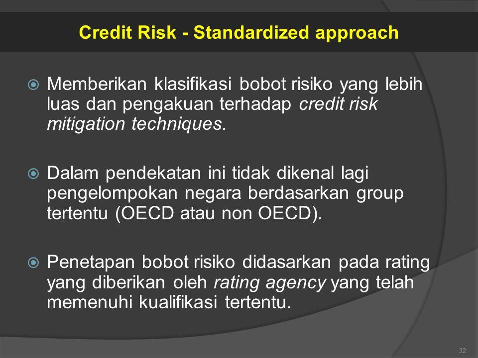  Memberikan klasifikasi bobot risiko yang lebih luas dan pengakuan terhadap credit risk mitigation techniques.  Dalam pendekatan ini tidak dikenal l