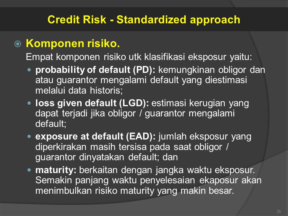  Komponen risiko. Empat komponen risiko utk klasifikasi eksposur yaitu: probability of default (PD): kemungkinan obligor dan atau guarantor mengalami
