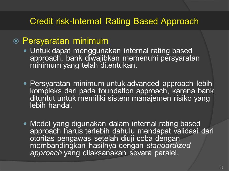  Persyaratan minimum Untuk dapat menggunakan internal rating based approach, bank diwajibkan memenuhi persyaratan minimum yang telah ditentukan. Pers