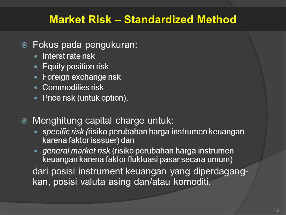  Fokus pada pengukuran: Interst rate risk Equity position risk Foreign exchange risk Commodities risk Price risk (untuk option).