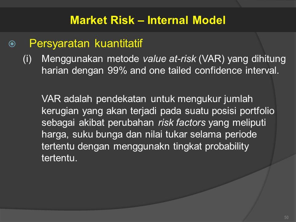  Persyaratan kuantitatif (i)Menggunakan metode value at-risk (VAR) yang dihitung harian dengan 99% and one tailed confidence interval. VAR adalah pen