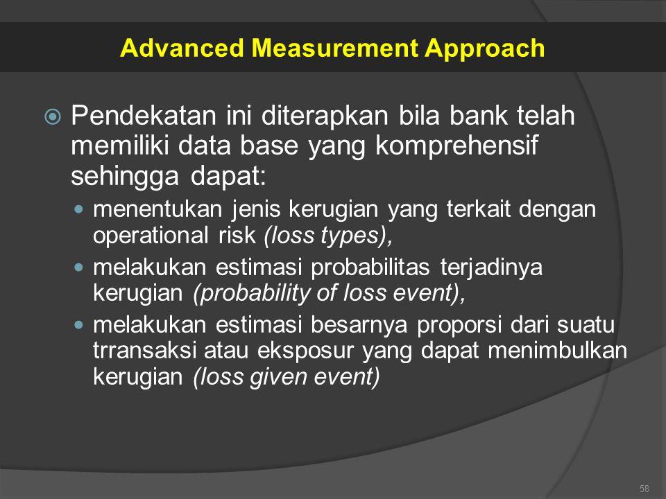  Pendekatan ini diterapkan bila bank telah memiliki data base yang komprehensif sehingga dapat: menentukan jenis kerugian yang terkait dengan operati