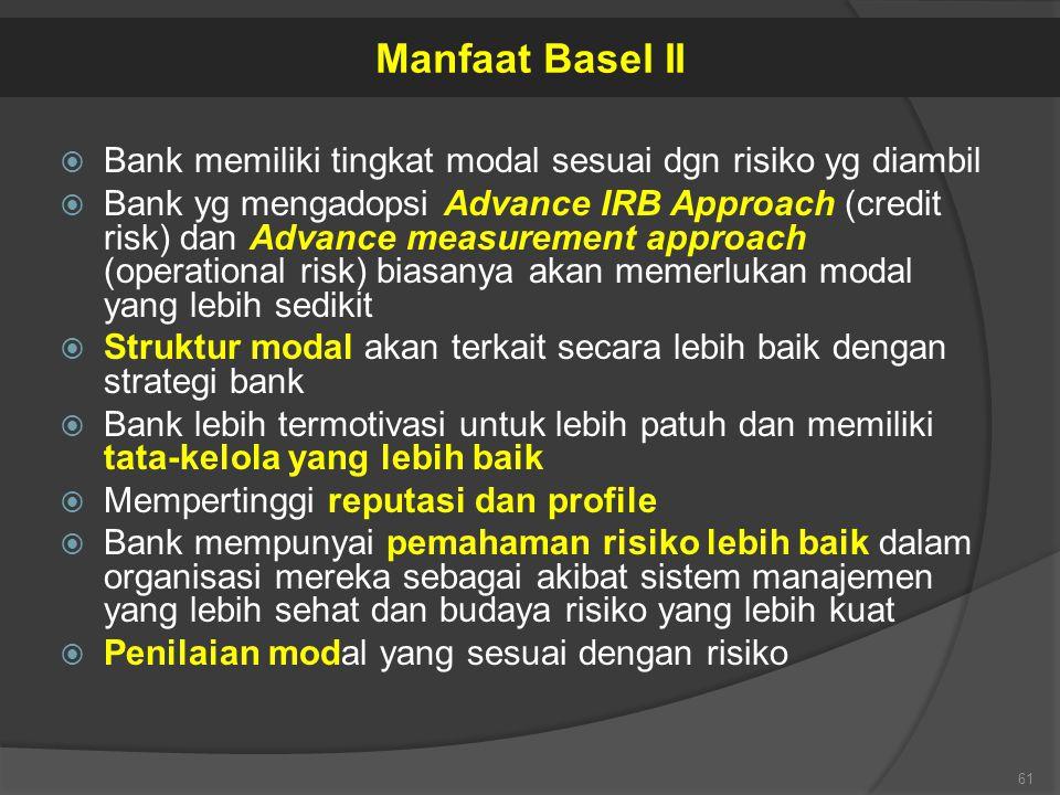  Bank memiliki tingkat modal sesuai dgn risiko yg diambil  Bank yg mengadopsi Advance IRB Approach (credit risk) dan Advance measurement approach (o