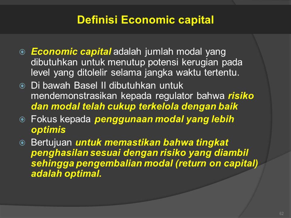 Economic capital adalah jumlah modal yang dibutuhkan untuk menutup potensi kerugian pada level yang ditolelir selama jangka waktu tertentu.  Di baw