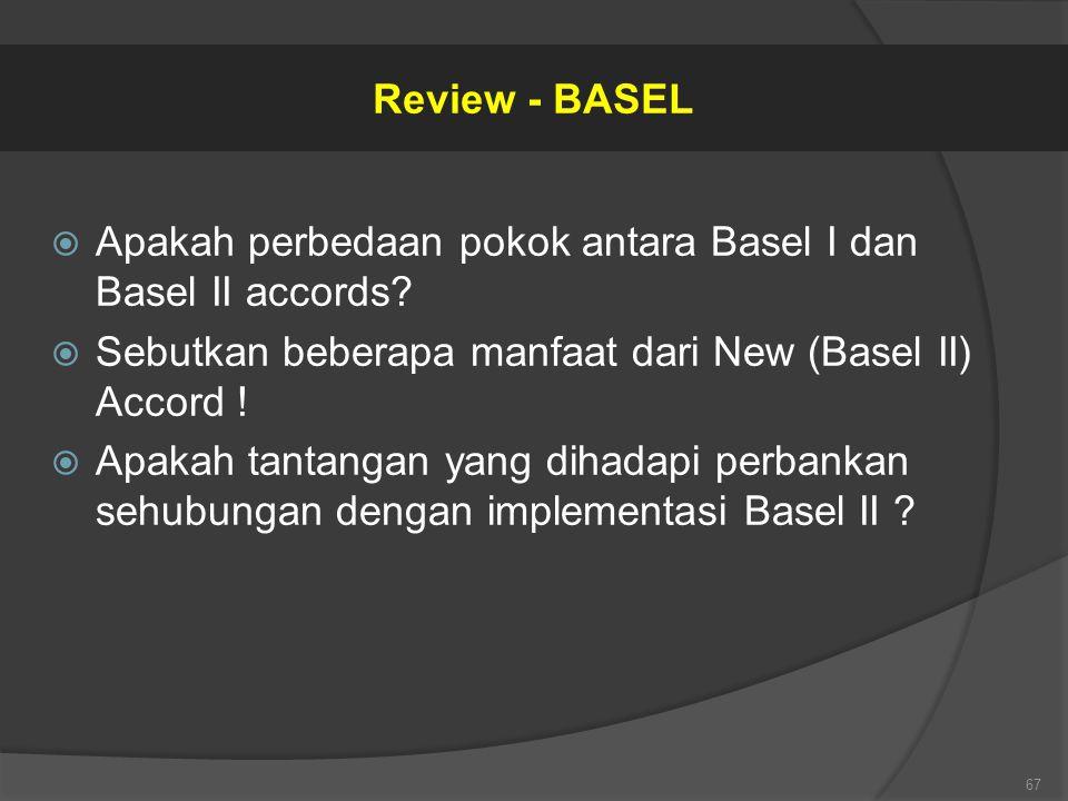  Apakah perbedaan pokok antara Basel I dan Basel II accords?  Sebutkan beberapa manfaat dari New (Basel II) Accord !  Apakah tantangan yang dihadap