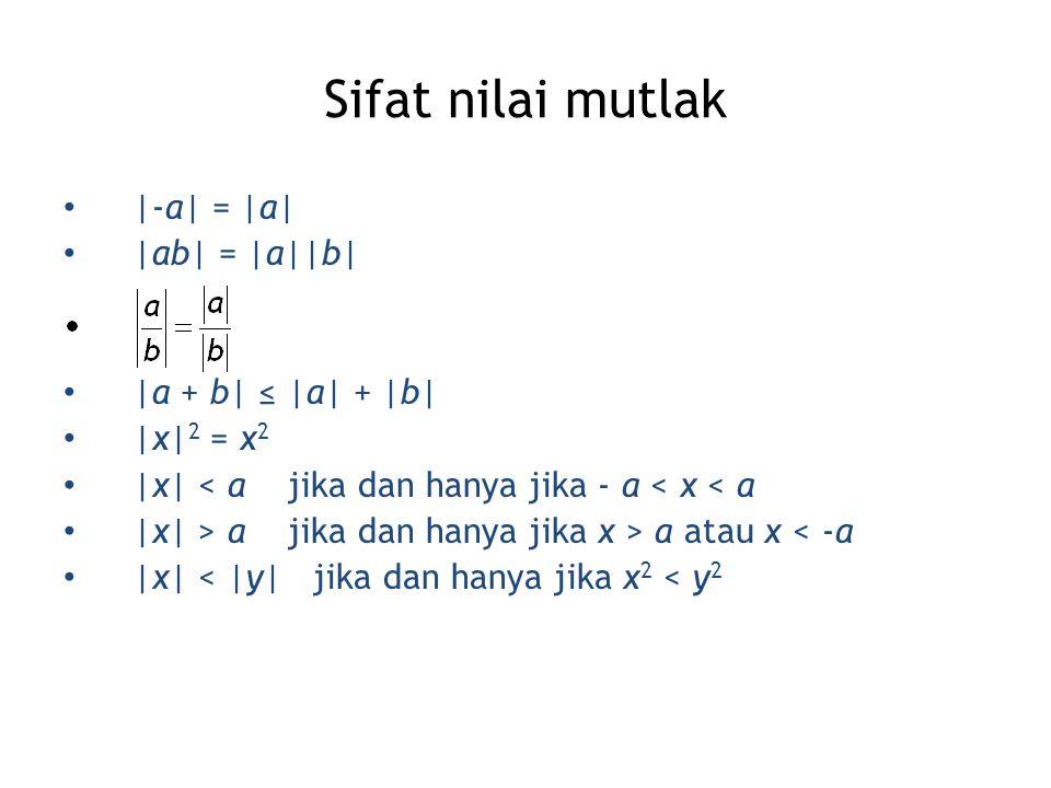 Sifat nilai mutlak |-a| = |a| |ab| = |a||b| |a + b| ≤ |a| + |b| |x| 2 = x 2 |x| < a jika dan hanya jika - a < x < a |x| > a jika dan hanya jika x > a atau x < -a |x| < |y| jika dan hanya jika x 2 < y 2