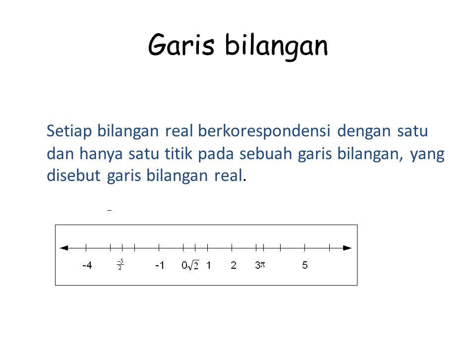 Garis bilangan Setiap bilangan real berkorespondensi dengan satu dan hanya satu titik pada sebuah garis bilangan, yang disebut garis bilangan real.