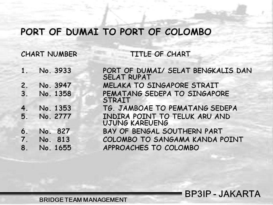 BP3IP - JAKARTA BRIDGE TEAM MANAGEMENT CHART NUMBERTITLE OF CHART 1.No. 3933PORT OF DUMAI/ SELAT BENGKALIS DAN SELAT RUPAT 2.No. 3947MELAKA TO SINGAPO