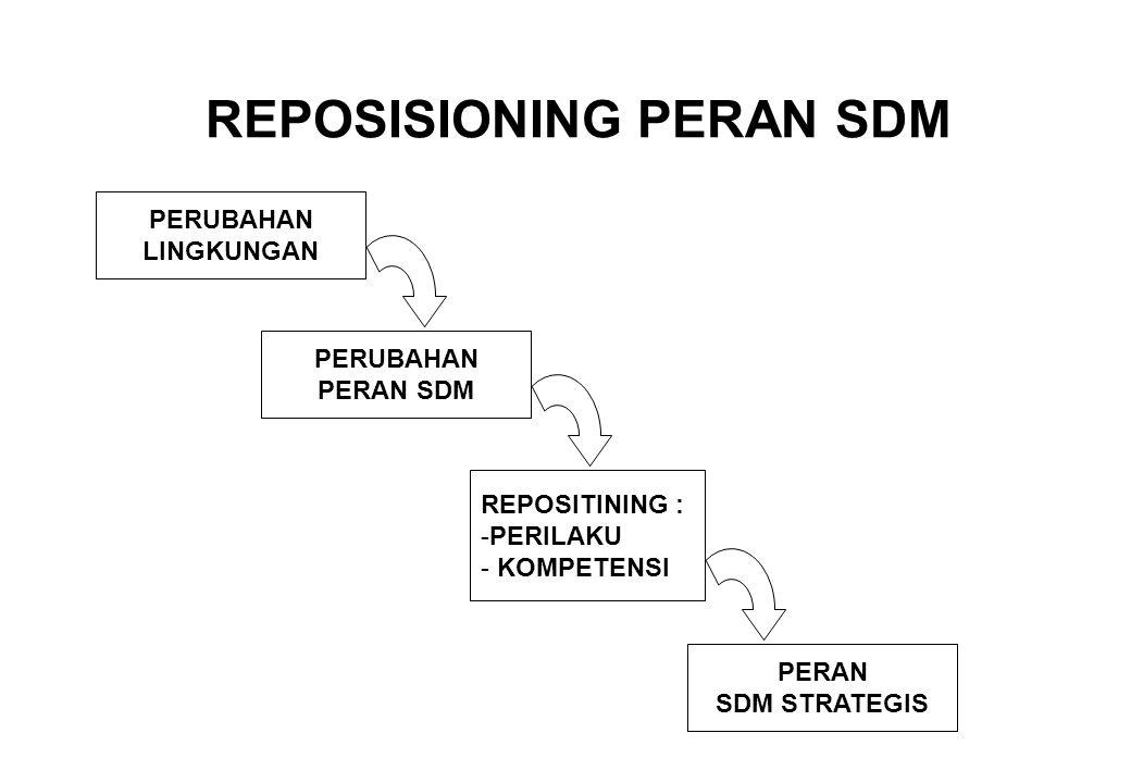 REPOSISIONING PERAN SDM PERUBAHAN LINGKUNGAN PERUBAHAN PERAN SDM REPOSITINING : -PERILAKU - KOMPETENSI PERAN SDM STRATEGIS