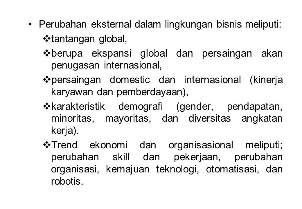 Perubahan eksternal dalam lingkungan bisnis meliputi:  tantangan global,  berupa ekspansi global dan persaingan akan penugasan internasional,  pers