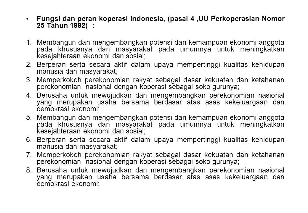 Fungsi dan peran koperasi Indonesia, (pasal 4,UU Perkoperasian Nomor 25 Tahun 1992) : 1.Membangun dan mengembangkan potensi dan kemampuan ekonomi angg