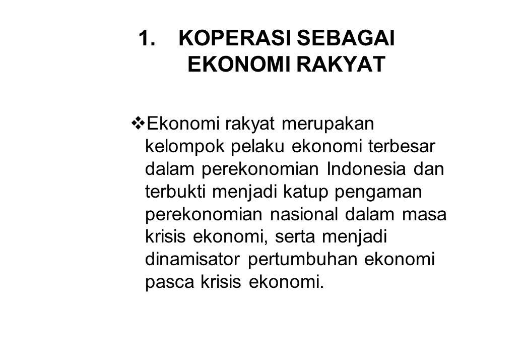 1.KOPERASI SEBAGAI EKONOMI RAKYAT  Ekonomi rakyat merupakan kelompok pelaku ekonomi terbesar dalam perekonomian Indonesia dan terbukti menjadi katup