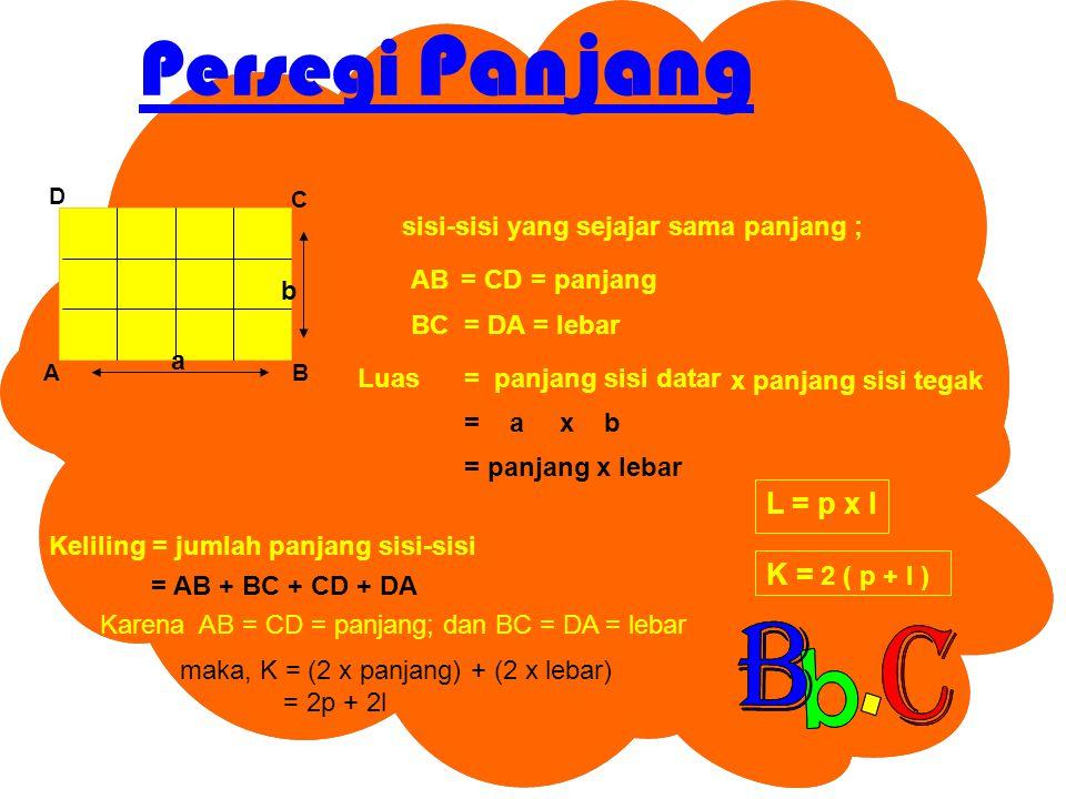Persegi Panjang BA C D sisi-sisi yang sejajar sama panjang ; AB= CD BC= DA = panjang = lebar Luas= panjang sisi datar x b= a x panjang sisi tegak a b = panjang x lebar L = p x l Keliling = jumlah panjang sisi-sisi = AB + BC + CD + DA Karena AB = CD = panjang; dan BC = DA = lebar maka, K = (2 x panjang) + (2 x lebar) = 2p + 2l K = 2 ( p + l )