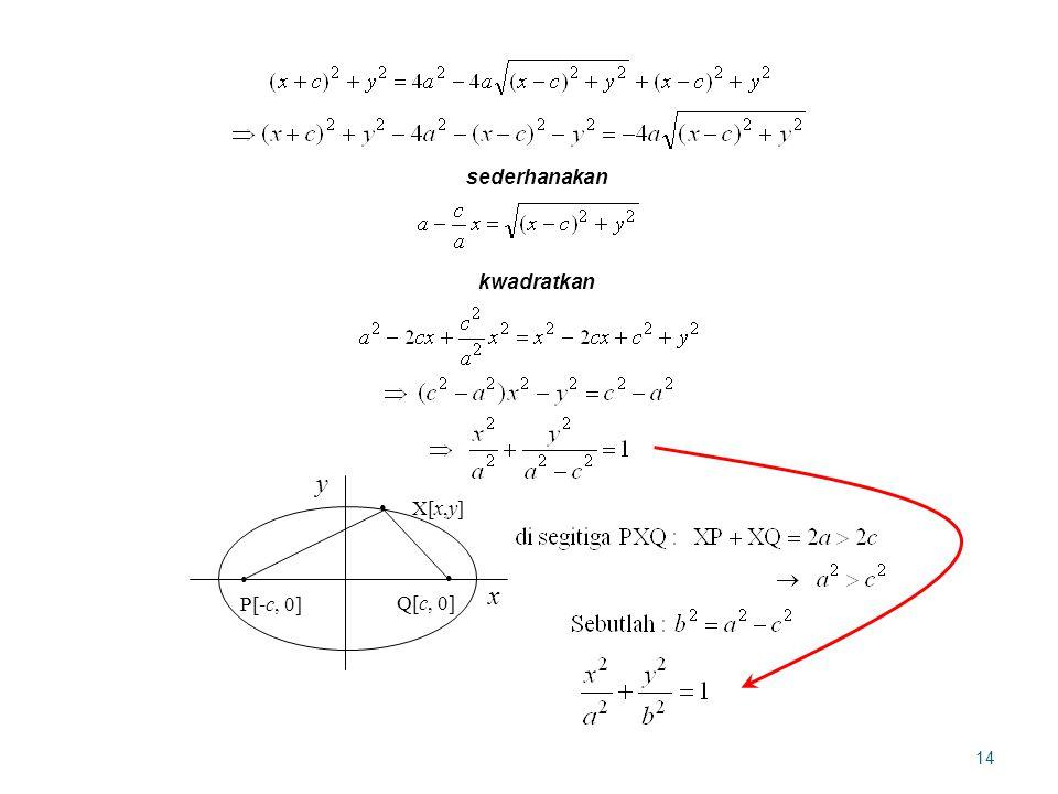 14 kwadratkan sederhanakan P[-c, 0] Q[c, 0] x y X[x,y]