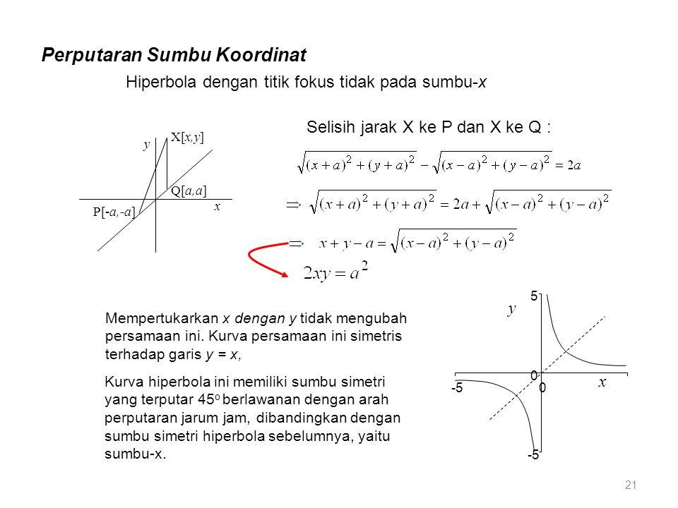 Perputaran Sumbu Koordinat Hiperbola dengan titik fokus tidak pada sumbu-x Mempertukarkan x dengan y tidak mengubah persamaan ini. Kurva persamaan ini