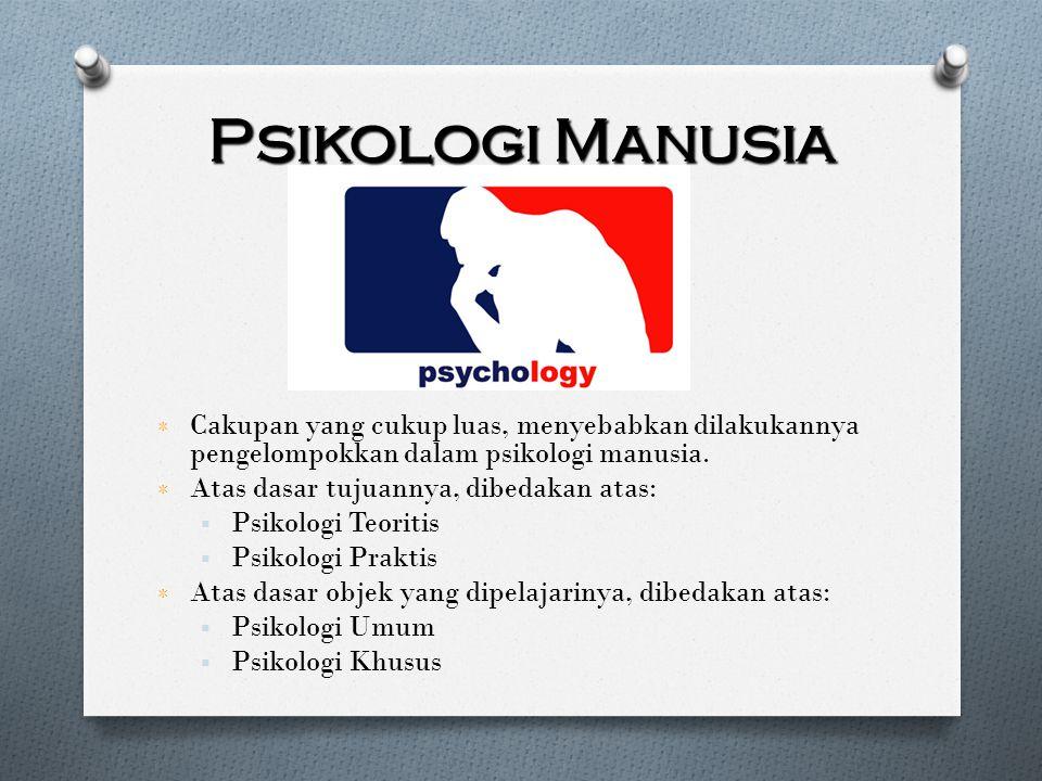 Psikologi Manusia ٭ Cakupan yang cukup luas, menyebabkan dilakukannya pengelompokkan dalam psikologi manusia. ٭ Atas dasar tujuannya, dibedakan atas:
