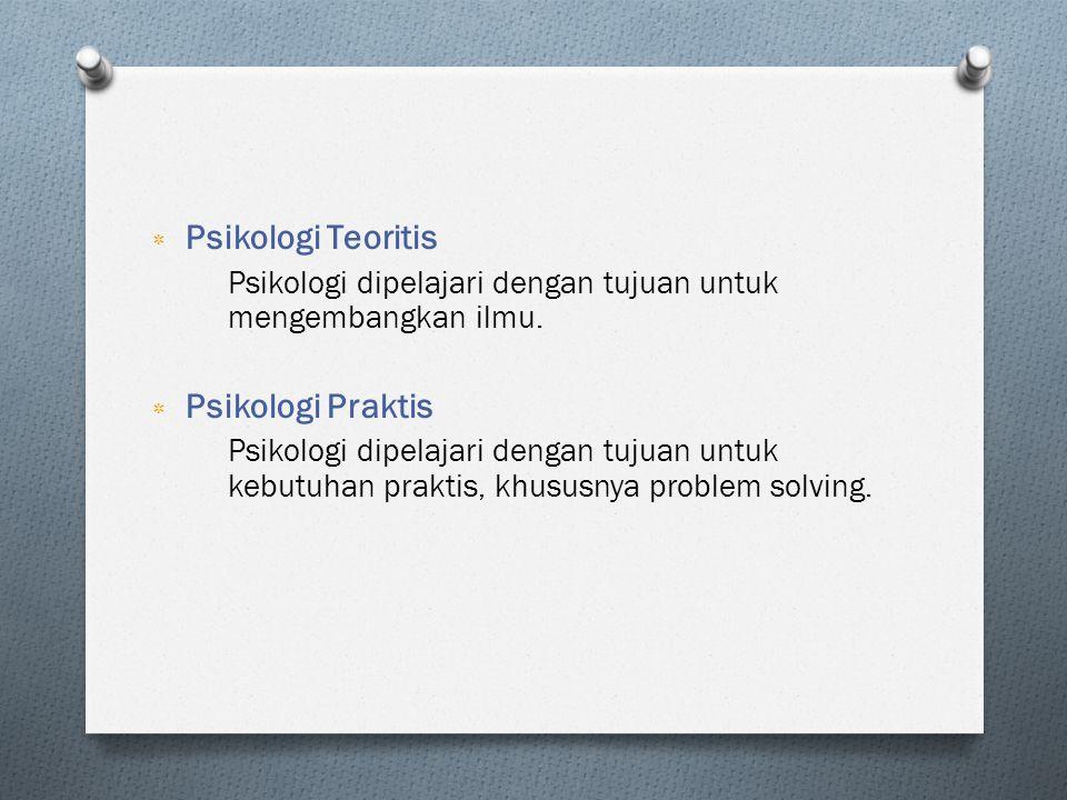 ٭ Psikologi Teoritis Psikologi dipelajari dengan tujuan untuk mengembangkan ilmu. ٭ Psikologi Praktis Psikologi dipelajari dengan tujuan untuk kebutuh