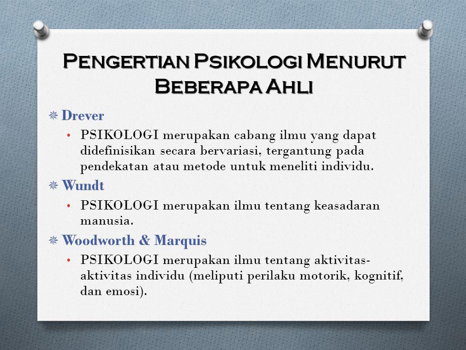 Pengertian Psikologi Menurut Beberapa Ahli  Drever PSIKOLOGI merupakan cabang ilmu yang dapat didefinisikan secara bervariasi, tergantung pada pendek