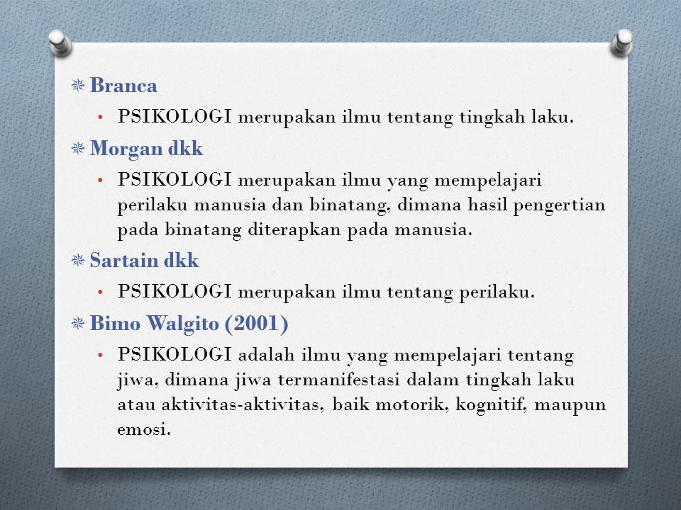  Branca PSIKOLOGI merupakan ilmu tentang tingkah laku.  Morgan dkk PSIKOLOGI merupakan ilmu yang mempelajari perilaku manusia dan binatang, dimana h