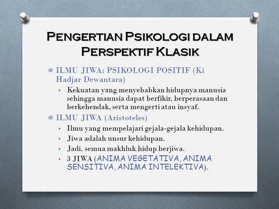 Pengertian Psikologi dalam Perspektif Klasik  ILMU JIWA: PSIKOLOGI POSITIF (Ki Hadjar Dewantara) Kekuatan yang menyebabkan hidupnya manusia sehingga