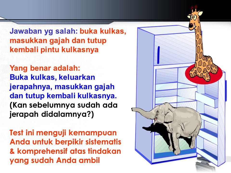 Jawaban yg salah: buka kulkas, masukkan gajah dan tutup kembali pintu kulkasnya Yang benar adalah: Buka kulkas, keluarkan jerapahnya, masukkan gajah d