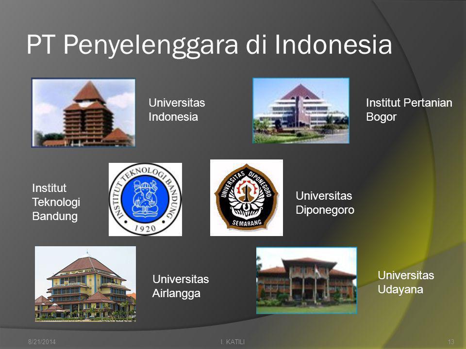 PT Penyelenggara di Indonesia Universitas Indonesia Universitas Airlangga Institut Pertanian Bogor Universitas Udayana I.