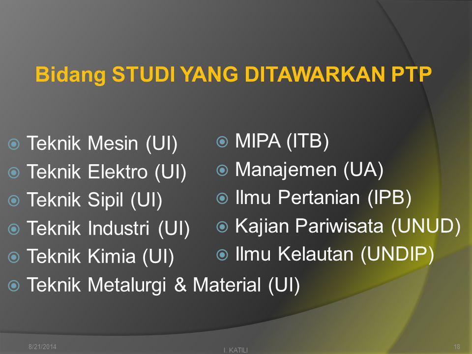 Bidang STUDI YANG DITAWARKAN PTP  Teknik Mesin (UI)  Teknik Elektro (UI)  Teknik Sipil (UI)  Teknik Industri (UI)  Teknik Kimia (UI)  Teknik Metalurgi & Material (UI) I.
