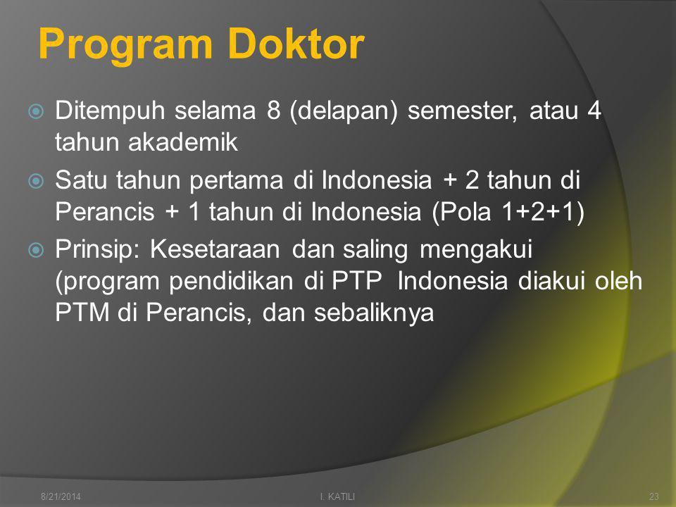 Program Doktor  Ditempuh selama 8 (delapan) semester, atau 4 tahun akademik  Satu tahun pertama di Indonesia + 2 tahun di Perancis + 1 tahun di Indonesia (Pola 1+2+1)  Prinsip: Kesetaraan dan saling mengakui (program pendidikan di PTP Indonesia diakui oleh PTM di Perancis, dan sebaliknya I.