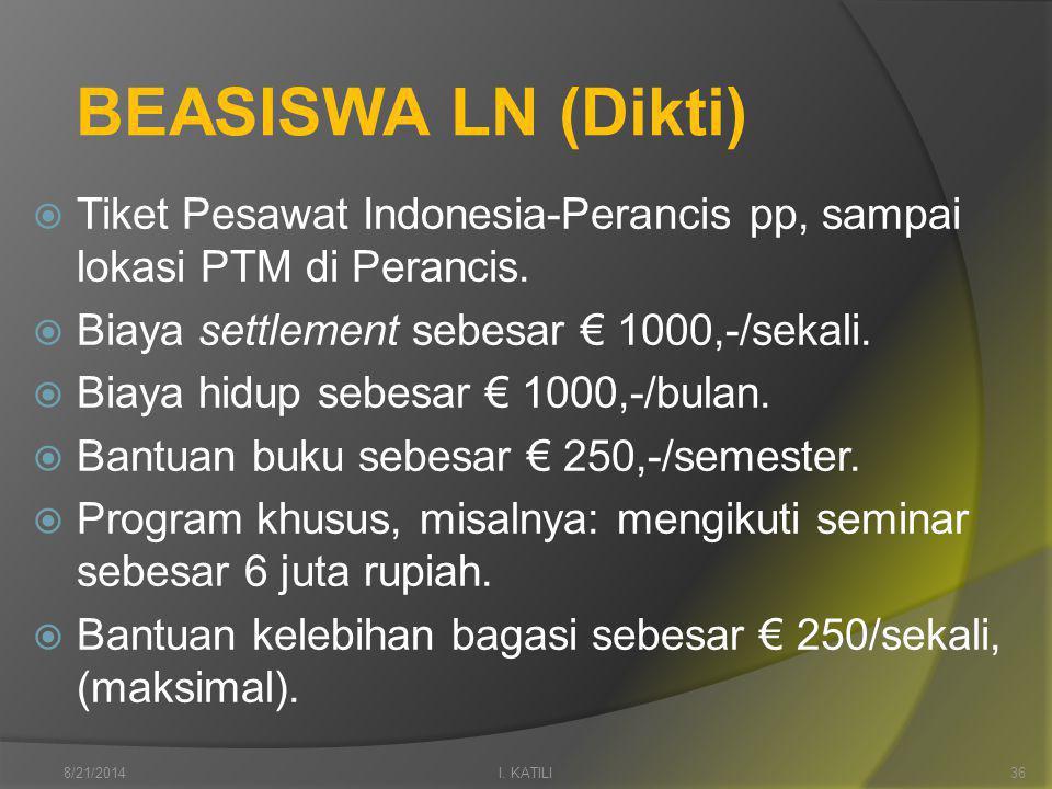 BEASISWA LN (Dikti)  Tiket Pesawat Indonesia-Perancis pp, sampai lokasi PTM di Perancis.