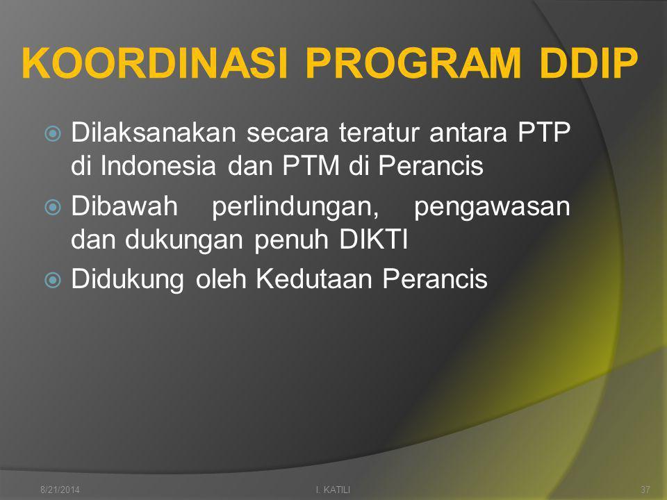 KOORDINASI PROGRAM DDIP  Dilaksanakan secara teratur antara PTP di Indonesia dan PTM di Perancis  Dibawah perlindungan, pengawasan dan dukungan penuh DIKTI  Didukung oleh Kedutaan Perancis I.