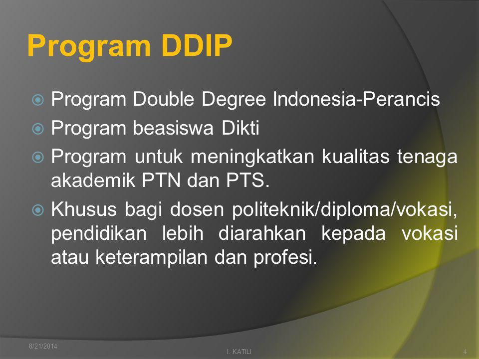 Program DDIP  Program Double Degree Indonesia-Perancis  Program beasiswa Dikti  Program untuk meningkatkan kualitas tenaga akademik PTN dan PTS.