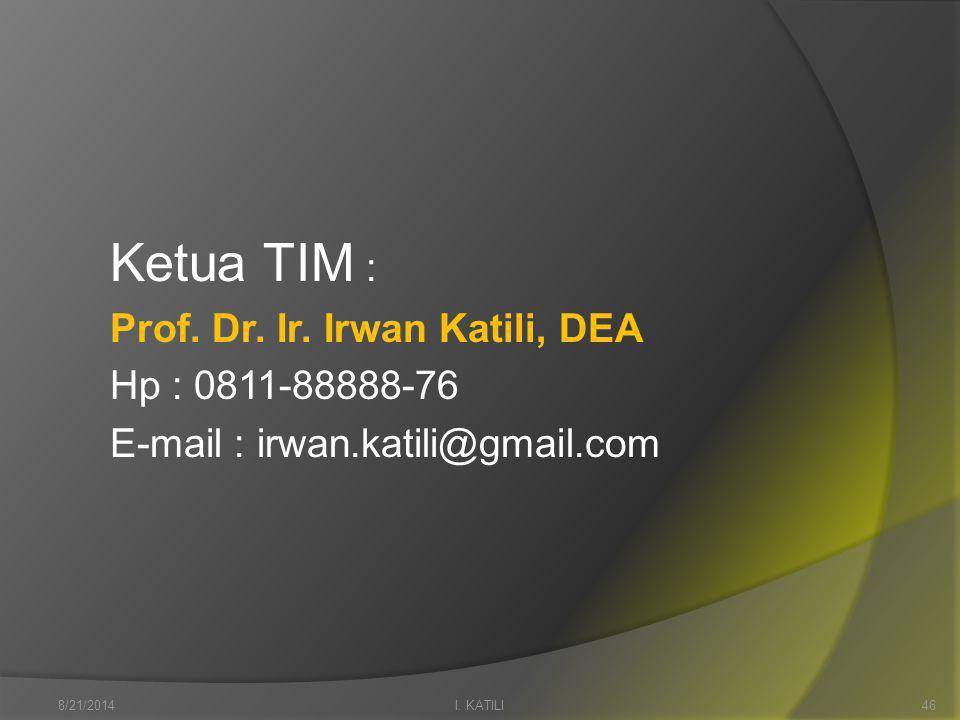 Ketua TIM : Prof. Dr. Ir. Irwan Katili, DEA Hp : 0811-88888-76 E-mail : irwan.katili@gmail.com I.