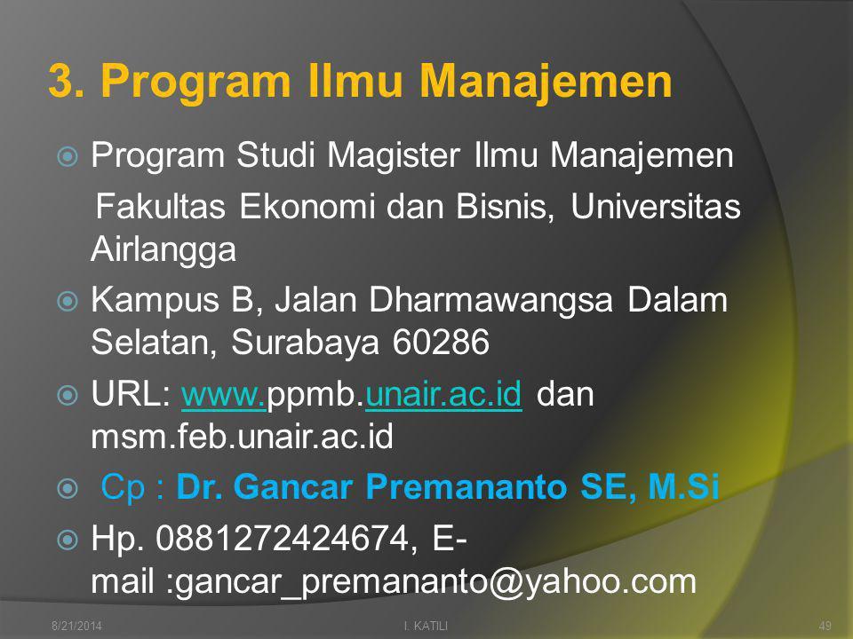 3. Program Ilmu Manajemen  Program Studi Magister Ilmu Manajemen Fakultas Ekonomi dan Bisnis, Universitas Airlangga  Kampus B, Jalan Dharmawangsa Da