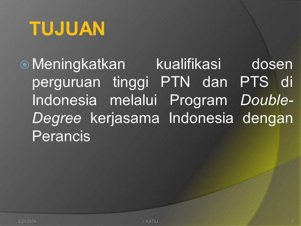 TUJUAN  Meningkatkan kualifikasi dosen perguruan tinggi PTN dan PTS di Indonesia melalui Program Double- Degree kerjasama Indonesia dengan Perancis I.