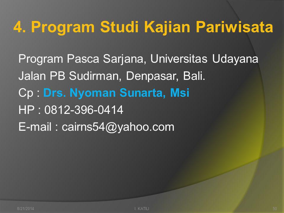 4. Program Studi Kajian Pariwisata Program Pasca Sarjana, Universitas Udayana Jalan PB Sudirman, Denpasar, Bali. Cp : Drs. Nyoman Sunarta, Msi HP : 08